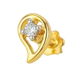 Diamond Nose Pin 0.10Ct Round Shape Natural Certified Solid Yellow Gold